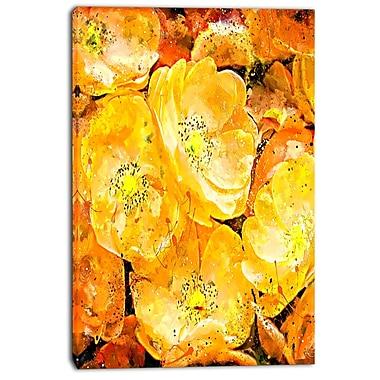 Design Art – Imprimé sur toile, bouquet de fleurs jaune orangé
