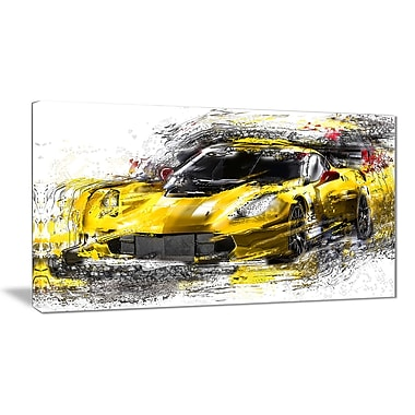 Designart Black and Yellow Speedster Canvas Art Print, (PT2639-32-16)