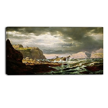 Designart JC Dahl, Shipwreck on the Coast of Norway Canvas Art Print, (PT4569-32-16)
