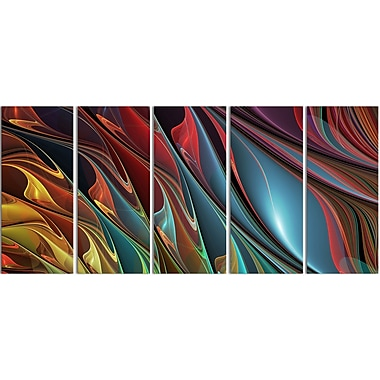 Designart Leaves of Colour 5-Panel Modern Canvas Art Print, (PT3081-401)