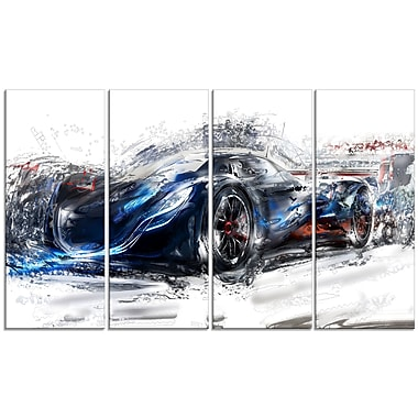Designart Black Speedster Car Large Gallery Wrapped Canvas, (PT2623-271)
