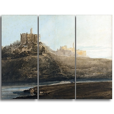 Designart Thomas Girtin, Warkworth Castle Canvas Art Print, (PT4959-3P)