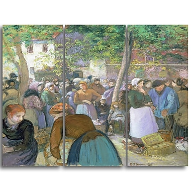 Designart Camille Pissarro, Polutry Market at Gisors Canvas Art Print, (PT4196-3P)
