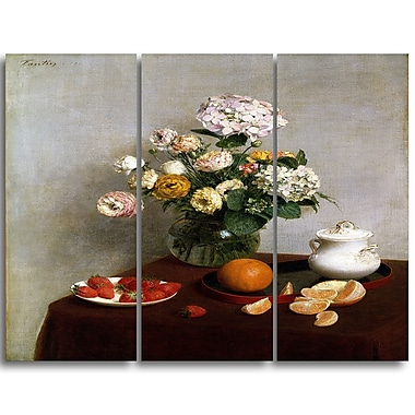 Designart Henri Fantin Latour, Flowers and Fruit Canvas Art Print, 3 Panels, (PT4491-3P)