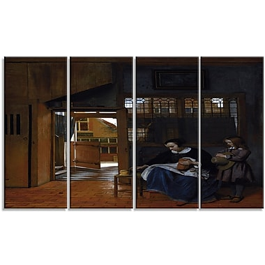 Designart Pieter de Hooch, Woman Preparing Bread for a Boy Canvas Art Print, 4 Panels, (PT4867-271)