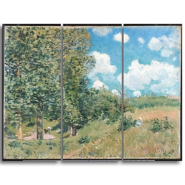Designart Alfred Sisley, Road from Versailles to Saint-Germain Master Piece Landscape Artwork, (PT4133-3P)