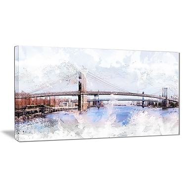 Designart Bridge Cityscape Canvas Art Print, 4 Panels, (PT3318-32-16)
