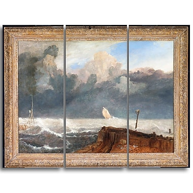 Designart JMW Turner, Port Ruysdael Sea & Shore Canvas Art Print, (PT4607-3P)