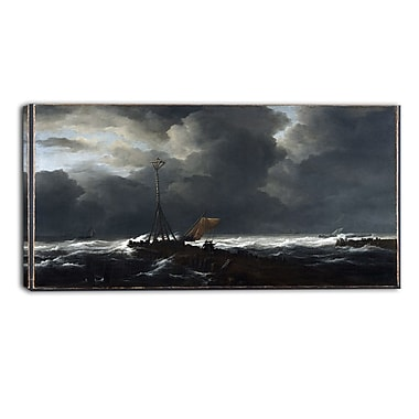 Designart Jacob van Ruisdael, Rough Sea at a Jetty Sea & Shore Canvas Artwork, (PT4531-32-16)