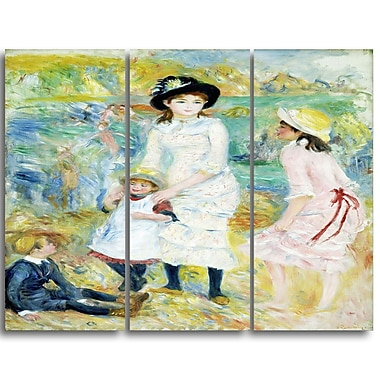 Designart Pierre-Auguste Renoir, Children on the Seashore Canvas Art Print, 3 Panels, (PT4850-3P)