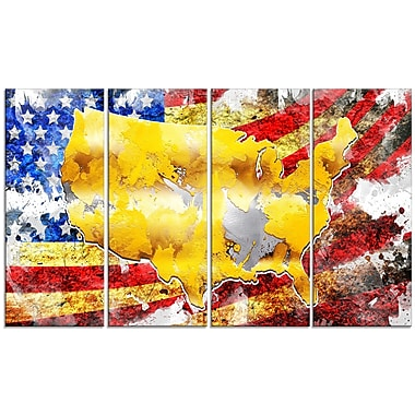 Designart USA Map on Flag 4-Panel Canvas Art Print, (PT2835-271)