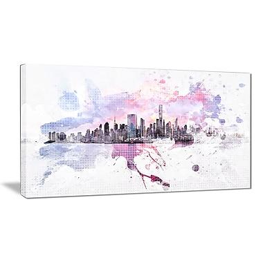 Designart Sunset Splash Cityscape Canvas Art Print, (PT3305-32-16)