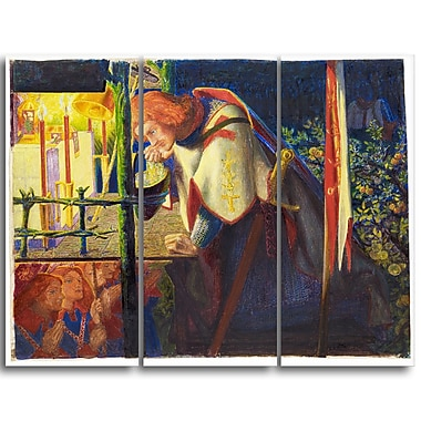 Designart Dante G. Rossetti, Sir Galahad at the Ruined Chapel Canvas Art Print, (PT4276-3P)