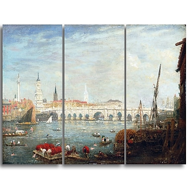 Designart Frederick Nash, The Monument and London Bridge Canvas Art Print, (PT4399-3P)