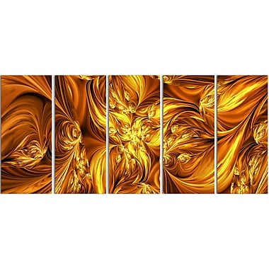 Designart Molten Gold Exchange 5-Panel Abstract Canvas Art Print, (PT3093-401)