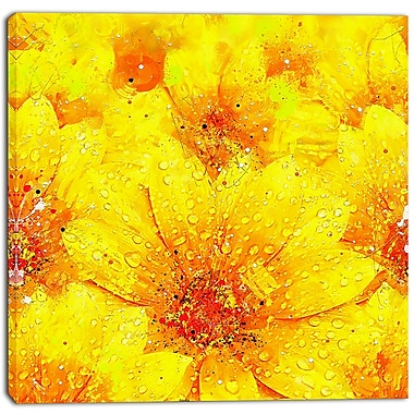 Designart Yellow Thicket Floral Canvas Art Print, (PT3442-30-30)