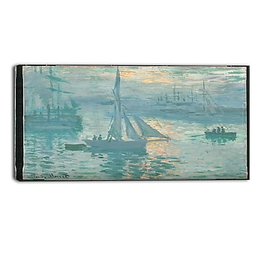 Designart Claude Monet, French Sunrise Canvas Art Print, (PT4266-32-16)