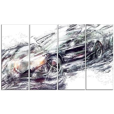 Designart – Grande toile abstraite étirée sur les bords, super voiture noire (PT2602-271)