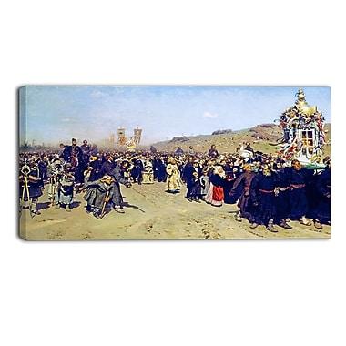 Designart Ilya Repin, Religious Procession in Kursk Gubernia Lansdcape Artwork, (PT4508-32-16)