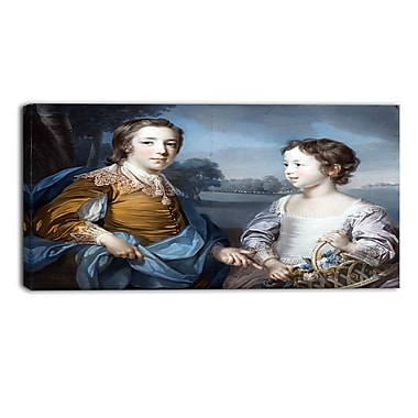 Designart Francis Cotes, Portrait of Joseph and his Brother Landscape Canvas Art Print, (PT4387-32-16)