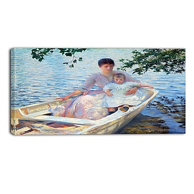 Designart Edmund Charles Tarbell, Mother and Child in a Boat Landscape Canvas Art Print, (PT4318-32-16)