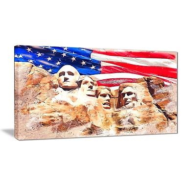 Designart – Imprimé sur large toile, Mont Rushmore et drapeau américain (PT2808-32-16)