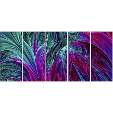 Designart Purple and Green Jungle 5-Panel Modern Canvas Art Print, (PT3085-401)