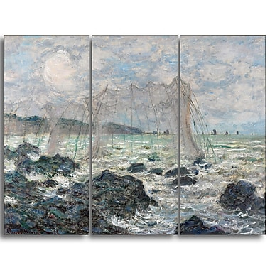 Designart Claude Monet, Fishing Nets at Pourville Canvas Art Print, (PT4254-3P)
