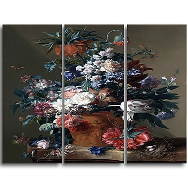 Designart Jan van Huysum, Vase of Flowers 3 Canvas Art Print, 3 Panels, (PT4557-3P)