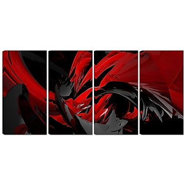 Designart Red and Grey Mixer 4-Panel Contemporary Canvas Art Print, (PT3049-271)