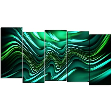 Designart Emerald Energy 5-Panel Abstract Canvas Art Print, (PT3020-1084)