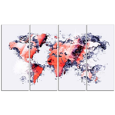 Designart Red and Grey Map Canvas Art Print, (PT2738-271)
