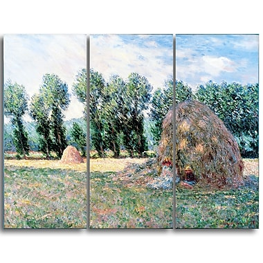 Designart Claude Monet, Haystacks Landscape Canvas Arwork, (PT4243-3P)