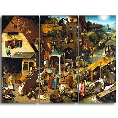Designart Pieter Bruegel, The Dutch Proverbs Canvas Art Print, (PT4862-3P)