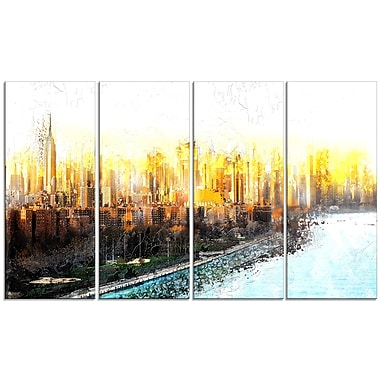 Designart New York Sunset Cityscape Large Canvas Artwork, (PT3313-271)