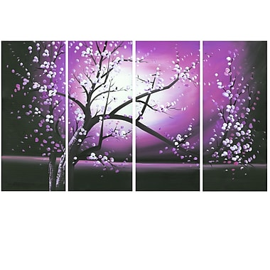 Designart Blossoming in the Moonlight, 4 Piece Wall Art Canvas, (PT271-PINK)