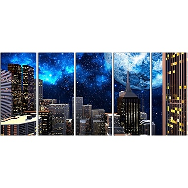 Designart Abstract City at Night 5-Panel Contemporary Canvas Art Print, (PT3069-401)