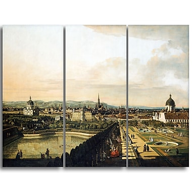 Designart Bernardo Bellotto, Vienna View from Belvedere Palace Master Piece Landscape Artwork, (PT4174-3P)