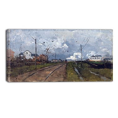Designart Frits Thaulow, The Train is Arriving Landscape Canvas Art Print, (PT4405-40-20)
