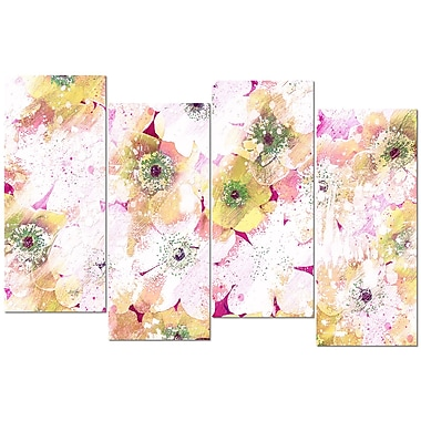 Designart Pink and Yellow Flower Bed 4-Panel Canvas Art Print, (PT3415-2-271)
