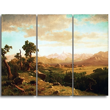Designart Albert Bierstadt, Wind River Country 3-Panel Canvas Art Print, (PT4116-3P)
