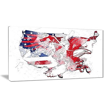 Designart American Eagle Map Canvas Art, (PT2828-32-16)