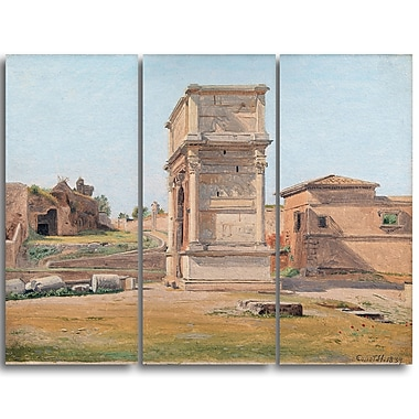Designart Constantin Hansen, The Arch of Titus in Rome Landscape Canvas Arwork, (PT4271-3P)