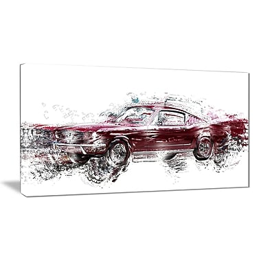 Designart Wine Coloured Muscle Car Canvas Art Print, (PT2657-32x16)