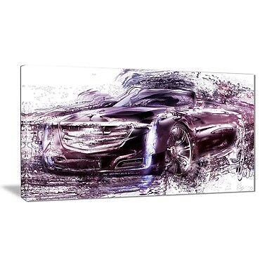 Designart Black Convertible Car Small Gallery Wrapped Canvas, (PT2610-32x16)