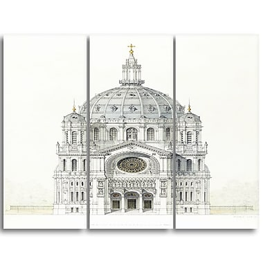 Designart Victor Baltard, Church of Saint Augustin Canvas Art Print, 3 Panels, (PT4987-3P)