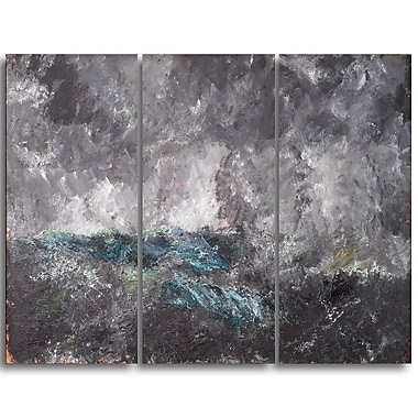 Designart August Strindberg, Storm in the Skerries Master Piece Landscape Artwork, (PT4163-3P)