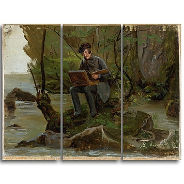 Designart Adolph Tideman, A Painter at his Paint Box Canvas Art Print, 3 Panels, (PT4105-3P)