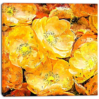 Designart Orange Yellow Flower Bouquet Floral Canvas Art Print, (PT3437-30-30)