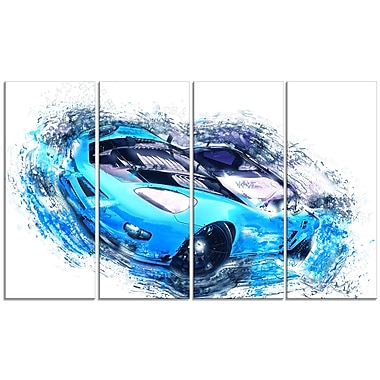 Designart Sky Blue and Black Sports Car, 4 Piece Gallery-Wrapped Canvas, (PT2640-271)